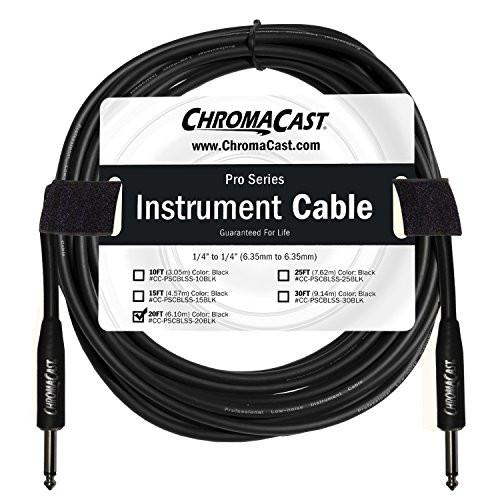 "ChromaCast Pro Series Instrument Cable 20 Feet, Black, 1/4"" Straight to 1/4"" Straight Ends"