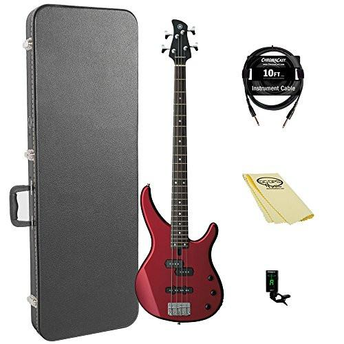 Yamaha TRBX174 RM-KIT-1 Electric Bass Guitar Kit with ChromaCast Hard Case and accessories, Red Metallic