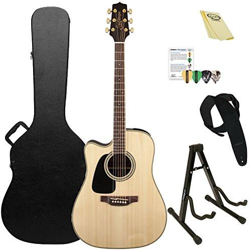 Takamine Left-Handed Dreadnought Cutaway Acoustic-Electric Guitar with ChromaCast Hard Case & Accessories, Natural