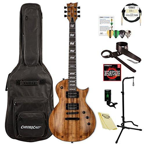 ESP/LTD Eclipse Series EC-1000 Koa Electric Guitar with ChromaCast Gig Bag & Accessories, Natural Gloss