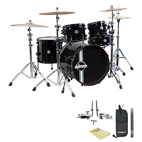 ddrum Reflex Standard Player 5pc Drum Set Black/Black Shell Pack, Polish Cloth, ChromaCast Drumstick Bag and 5A Drumsticks