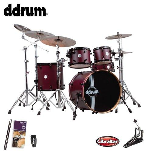 ddrum Reflex RSL Wine Red Satin (REFLEX-RSL-5-PC-WRS) 5-Piece Shell Pack - Includes: Gibraltar Bass Drum Pedal, Evans Drum Set Survival Guide, LP Rumba Shaker & GoDpsMusic Drumsticks