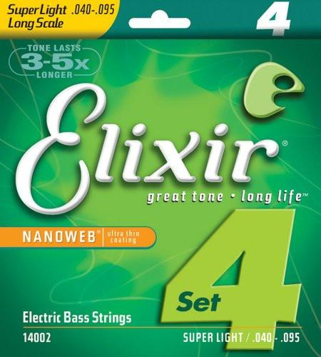 Elixir Strings Electric Bass Strings, 4-String, Super Light, Long Scale NANOWEB Coating