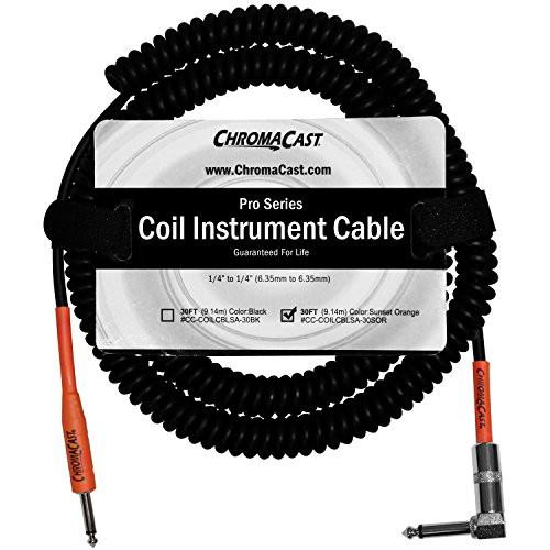 "ChromaCast Pro Series Coil Instrument Cable 30 Feet, Orange, 1/4"" Straight- 1/4""Angle Ends"