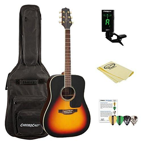 Takamine GD51-BSB Dreadnought Acoustic Guitar, Sunburst, with ChromaCast Acoustic Padded Gig Bag, Pick Sampler, Tuner & Polish Cloth
