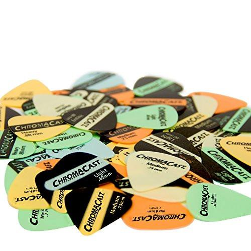 ChromaCast Guitar Picks - 60 Pack, Assorted Vintage Colors & Sizes, Light (0.60mm), Medium (0.73mm), Heavy (0.88mm)