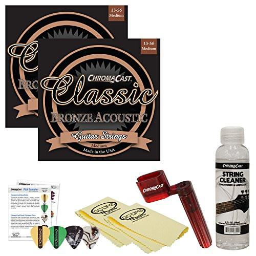 ChromaCast Acoustic Guitar Essential Accessory Bundle: 2 Packs of Classic Bronze Medium Gauge Acoustic Guitar Strings, String Winder, String Cleaner and Polish Cloth