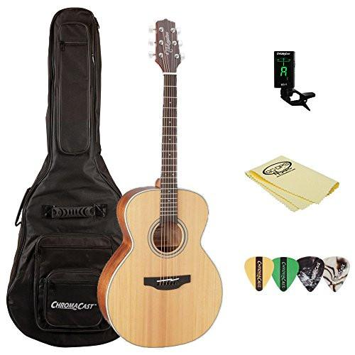 Takamine GN20 Nex Acoustic Guitar, Natural, with ChromaCast Acoustic Padded Gig Bag, Pick Sampler, Tuner, & Polish Cloth