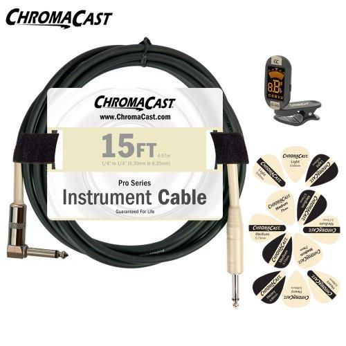ChromaCast Vanilla Cream Guitar Accessory Pack - Includes: 15ft Straight-Angle Cable, Tuner & Pick Sampler