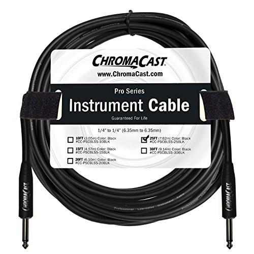 "ChromaCast Pro Series Instrument Cable 25 Feet, Black, 1/4"" Straight to 1/4"" Straight Ends"