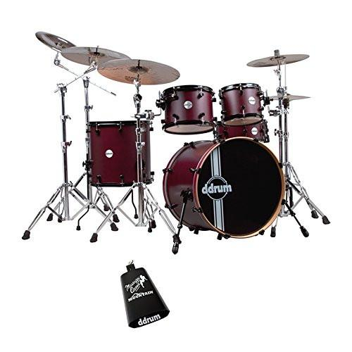 ddrum Reflex RSL Wine Red Satin 5-Piece Drum Kit with ddrum Cow Bell