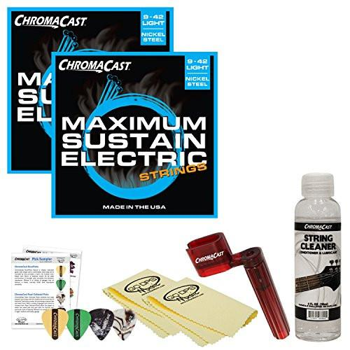 ChromaCast Electric Guitar Essential Accessory Bundle: 2 Packs of Maximum Sustain Light Electric Guitar Strings, String Winder, String Cleaner and Polish Cloth