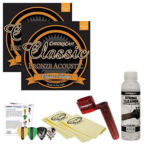 ChromaCast Acoustic Guitar Essential Accessory Bundle: 2 Packs of Classic Bronze Medium-Light Gauge Acoustic Guitar Strings, String Winder, String Cleaner and Polish Cloth