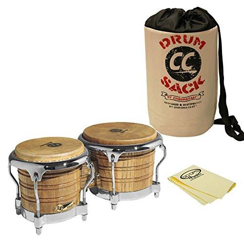 LP Latin Percussion LP793X Giovanni Galaxy Series Wood Bongos and Chrome Hardware with Bongo Bag and Polish Cloth