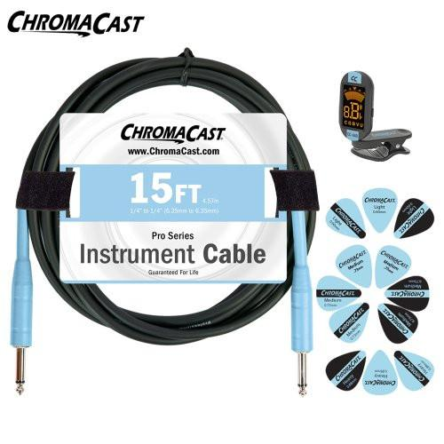 ChromaCast Daphne Blue Guitar Accessory Pack - Includes: 15ft Cable, Tuner & Pick Sampler