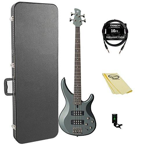 Yamaha TRBX304 MGR-KIT-1 Electric Bass Guitar Kit with ChromaCast Hard Case and Accessories, Mist Green
