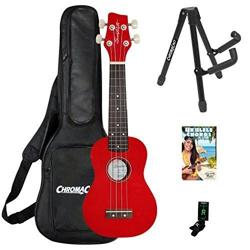 Sawtooth Basswood Soprano Ukulele, Red, w/ ChromaCast Accessories