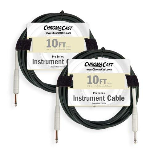 ChromaCast Pro Series 10ft Instrument Cable 2-Pack With Vintage Pick Sampler Pack
