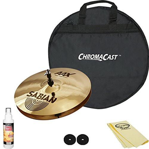 "Sabian 14"" AAX Stage Hats 21402X with 20"" ChromaCast Cymbal Bag & Accessories"