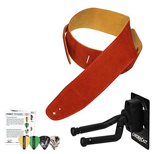 ChromaCast Guitar Wall Hanger, Picks and Burnt Orange Suede Strap Bundle