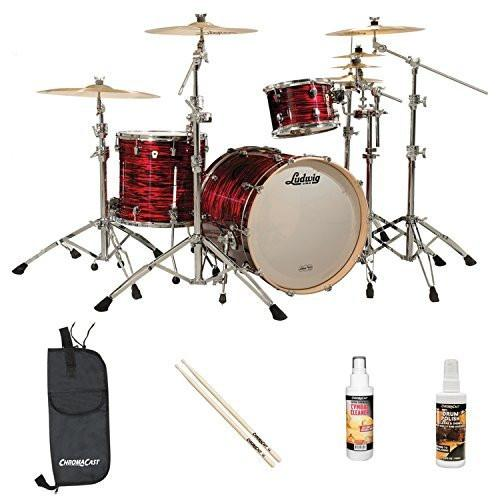 Ludwig USA Keystone 3 Pc Drum Shell Pack with ChromaCast Accessories, Red Oyster