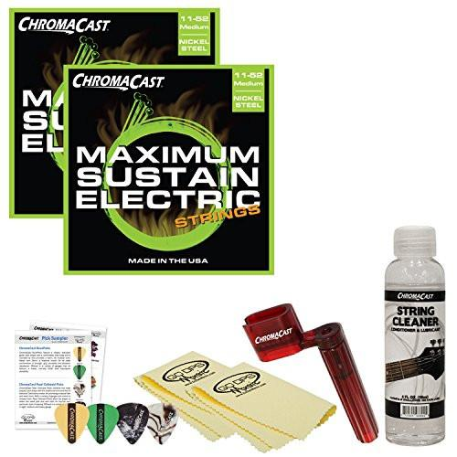 ChromaCast Electric Guitar Essential Accessory Bundle: 2 Packs of Maximum Sustain Medium Electric Guitar Strings, String Winder, String Cleaner and Polish Cloth