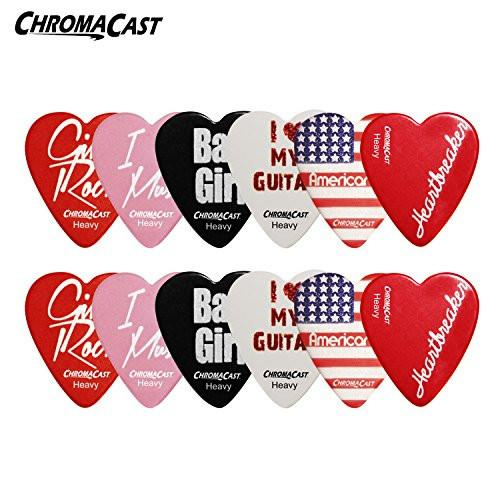 ChromaCast Heart Shaped Picks: Heavy 12 Pack
