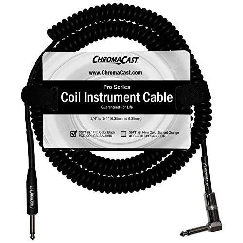 "ChromaCast Pro Series Coil Instrument Cable 30 Feet, Black, 1/4"" Straight- 1/4""Angle Ends"