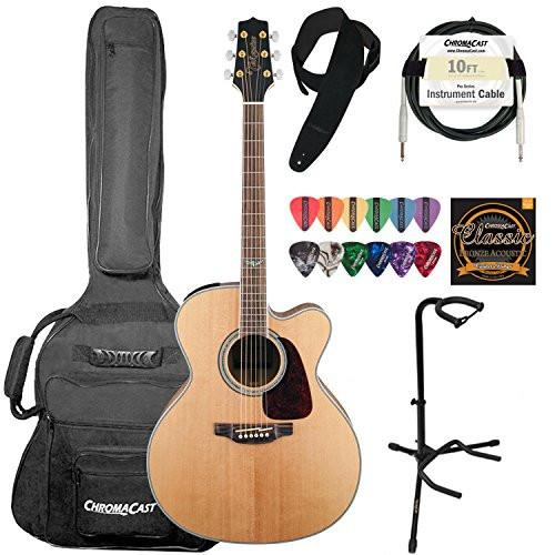 Takamine GJ72CE-NAT Jumbo Cutaway 6-String Acoustic Electric Guitar w/ ChromaCast Suede Strap, 10 ft Pro Series Cable, Strings, Picks & Upright Guitar Stand