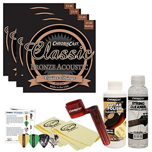 ChromaCast Acoustic Guitar Accessory Bundle: 4 Packs of Classic Bronze Medium .013-.056 Acoustic Guitar Strings, String Cleaner, String Winder, Picks, Guitar Polish and Polish Cloths