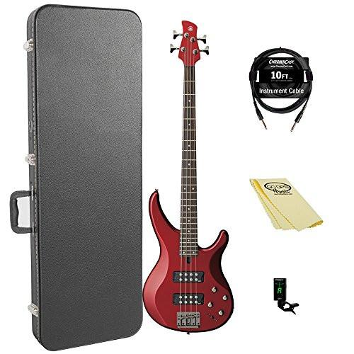 Yamaha TRBX304 CAR-KIT-1 Electric Bass Guitar Kit with ChromaCast Hard Case  and Accessories, Candy Apple Red