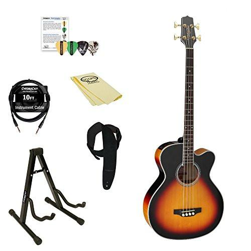 Takamine GB72CE BSB Jumbo Acoustic Electric Bass Guitar, Black Sunburst, with ChromaCast Pick Sampler, Stand, 10' Cable, Strap, & Polish Cloth