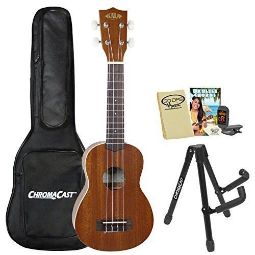 Kala KA-S Satin Soprano Ukulele with ChromaCast Tuner, Uke Bag, Stand, GoDpsMusic Chord Guide and Polish Cloth