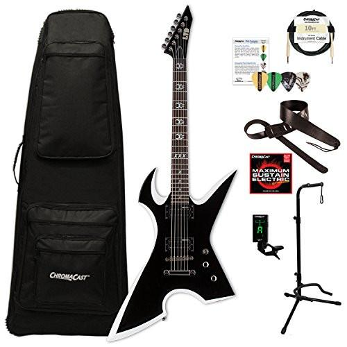ESP/LTD Max Cavalera Signature Series MAX-200RPR Electric Guitar with ChromaCast Extreme Shape Gig Bag & Accessories, Black w/ White Bevels