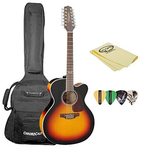 Takamine GJ72CE-12BSB Jumbo Cutaway 12-String Acoustic-Electric Guitar, with Acoustic Jumbo Padded Gig Bag, Pick Sampler, & Polish Cloth
