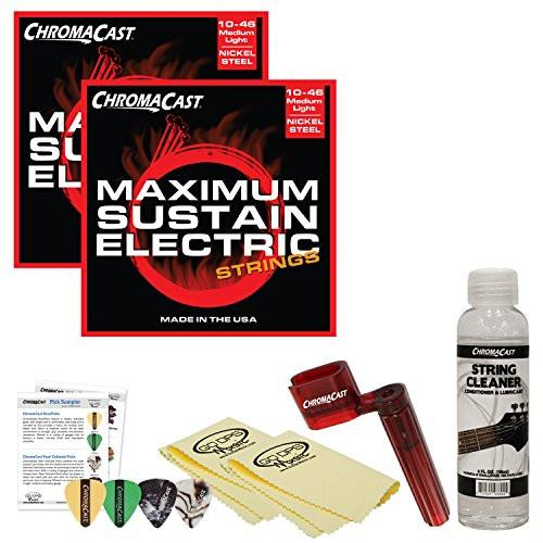 ChromaCast Electric Guitar Essential Accessory Bundle: 2 Packs of Maximum Sustain Medium-Light Electric Guitar Strings, String Winder, String Cleaner and Polish Cloth