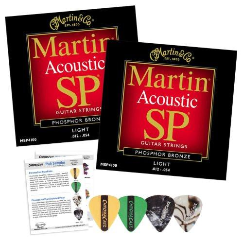Martin MSP4100 SP Phosphor Bronze Acoustic Guitar Strings, Light - 2 Packs with ChromaCast 4 Pick Sampler