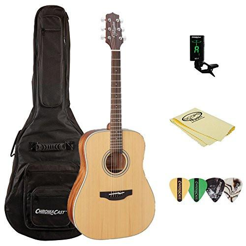 Takamine GD20 Dreadnought Acoustic Guitar, Natural, with ChromaCast Acoustic Padded Gig Bag, Pick Sampler, Tuner, & Polish Cloth