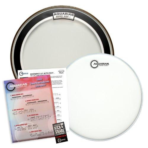 "Aquarian Value Pack: 16"" Clear Super Kick (SKI) Bass Drumhead & 14"" Texture Coated (TC14) Snare Drum Head"