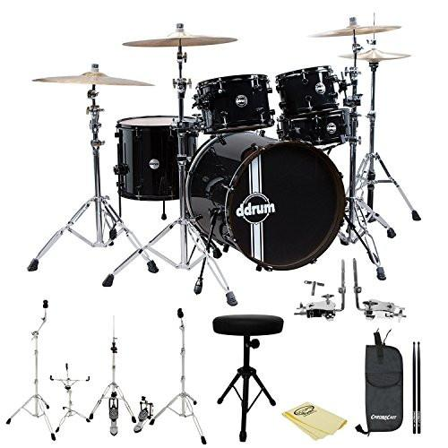 ddrum Reflex Standard Player 5pc Drum Set Black/Black Shell Pack, Hardware, Polish Cloth, ChromaCast Throne, Drumstick Bag and 5A Drumsticks