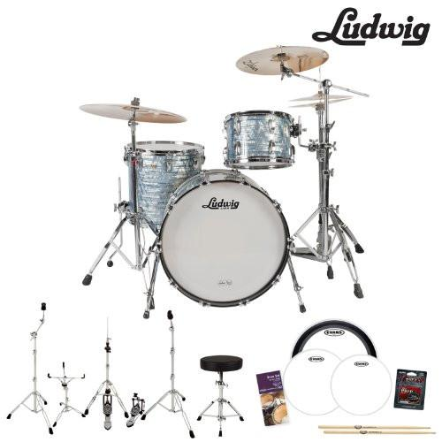 Ludwig USA Classic Maple 3 Pc Drum Kit in Sky Blue Pearl (L8303AX52WC) - Includes: Hardware, Drumsticks & Drumhead Pack