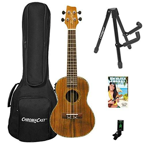 Sawtooth Acacia Concert Ukulele with Preamp, Quick Start Guide, & ChromaCast Accessories, Natural Satin