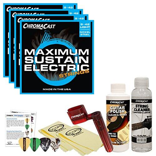 ChromaCast Electric Guitar Accessory Bundle: 4 Packs of Maximum Sustain Light .009-.042 Electric Guitar Strings, String Cleaner, String Winder, Picks, Guitar Polish and Polish Cloths