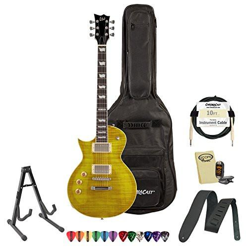 ESP LTD EC-256FM-LH-LD Flamed Maple Lemon Drop Left-Handed Electric Guitar w/ Accessories & Gig Bag