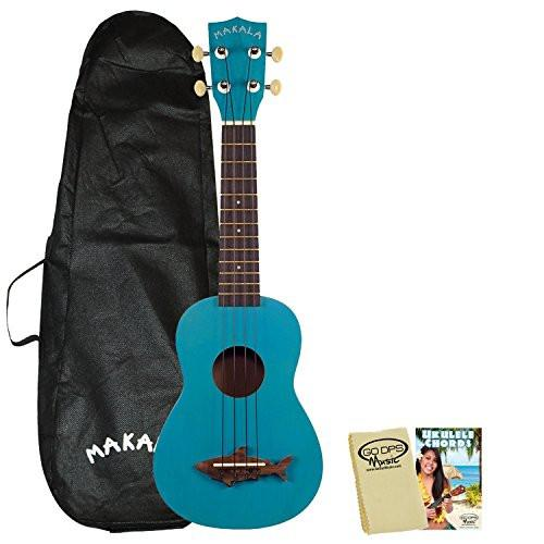 Kala Makala MK-SS Shark Soprano Ukulele Mako Blue with Kala Bag, GoDpsMusic Ukulele Chord Guide and Polish Cloth