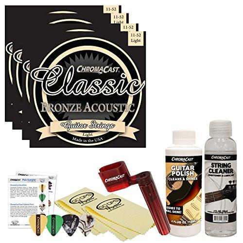 ChromaCast Acoustic Guitar Accessory Bundle: 4 Packs of Classic Bronze Light .011-.052 Acoustic Guitar Strings, String Cleaner, String Winder, Picks, Guitar Polish and Polish Cloths