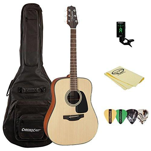 Takamine GD10 Acoustic Guitar, with ChromaCast Acoustic Padded Gig Bag, Pick Sampler, Tuner, & Polish Cloth
