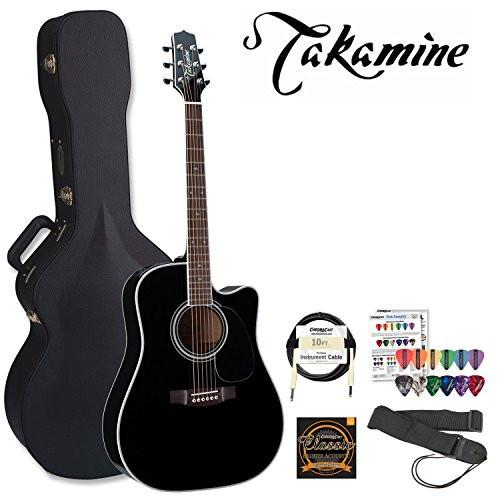 Takamine Pro Series EF341SC Gloss Black Acoustic Electric Guitar Kit With Takamine Hard Case. Includes ChromaCast Strap, ChromaCast Pro Series 10ft Cable, DAddario EJ16 Strings and ChromaCast/GoDpsMusic Pick Sampler
