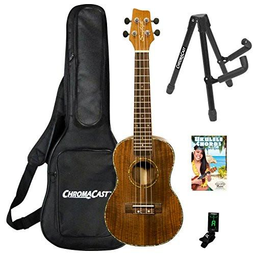 Sawtooth Acacia Soprano Ukulele with Quick Start Guide & ChromaCast Accessories, Natural Satin