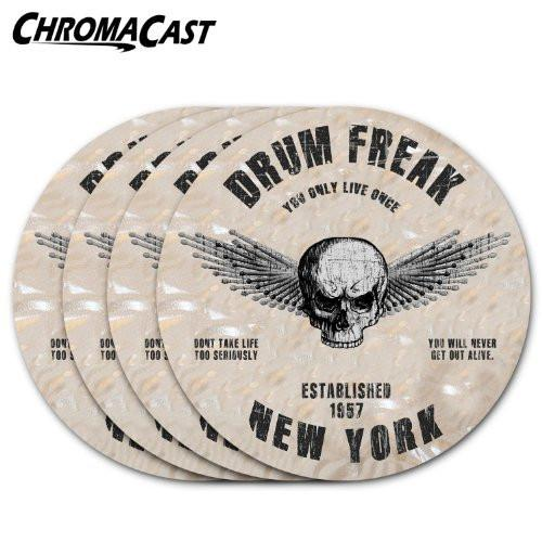 ChromaCast Drum Freak Round Drink Coasters: 4 Pack